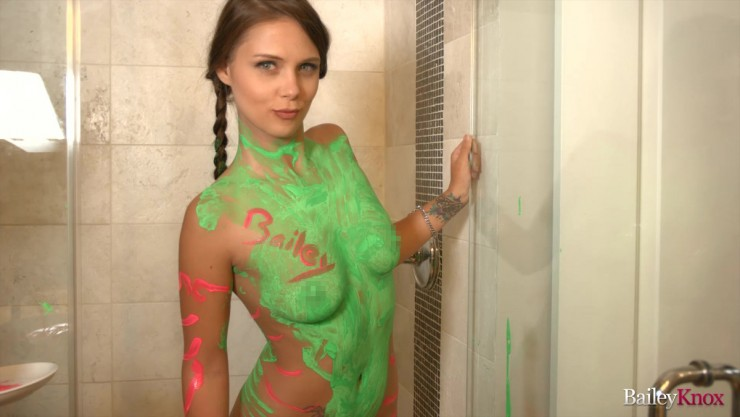 Bailey Knox naked in bodypaint