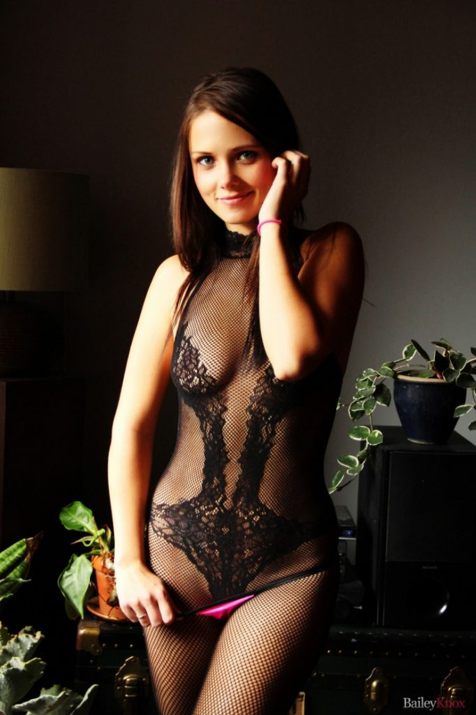 Bailey Knox in a lacy bodysuit