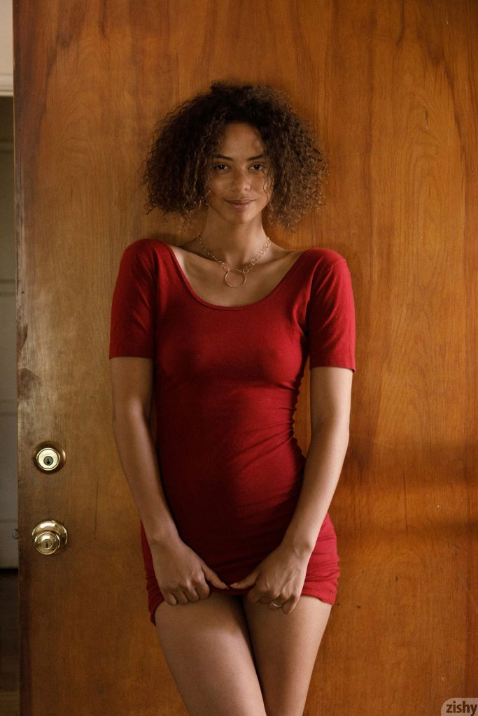 Desiree Jacobsen posing in a tight red dress-Zishy