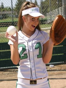 Kari Sweets in her Baseball Kit
