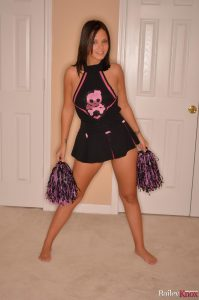 Sporty Bailey Knox enjoying her role as the sexy cheerleader